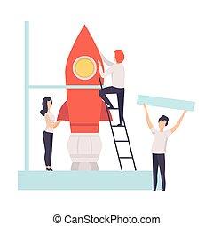 haut, construire, business, fusée espace, illustration, début, idée, vecteur, collaboration, équipe
