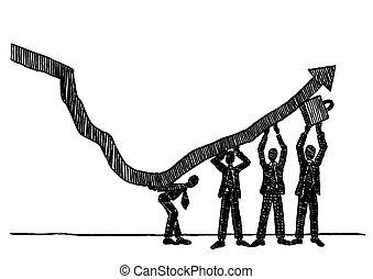 haut, croissance, tendance, équipe, levage, business, flèche, dessiné