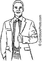 haut., croquis, pouce, griffonnage, illustration, main, vecteur, dessiné, homme affaires, sourire