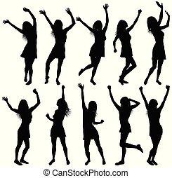 haut, danse, isolé, illustration, silhouettes, mains, femmes, heureux