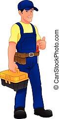 haut, dessin animé, pouce, outils, boîte, mécanicien, tenue