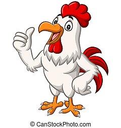 haut, donner, mascotte, dessin animé, poulet, pouce, coq