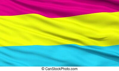 haut, drapeau ondulant, fin, pansexual, fierté