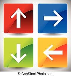 haut, droit, icônes, directions., 4, flèche, arrows., gauche, bas