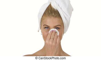 haut, elle, salle bains, figure, white., propre, fin, frais, confection
