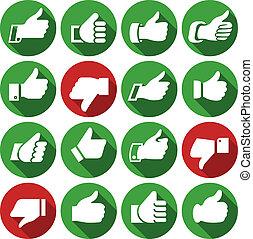 haut, ensemble, icônes, boutons, pouces, rond
