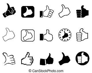 haut, ensemble, noir, pouces, icônes