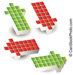 haut, ensemble, pointer gauche, flèches, blocks., droit, fait, 4, flèche, bas., cubes, 3d