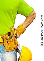 haut, entrepreneurs, fin, vue, outils, ceinture