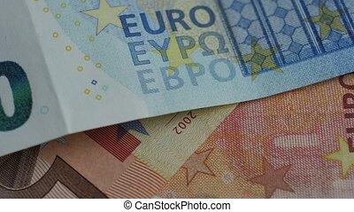haut., euros, fragment, résumé, billets banque., arrière-plan., fin