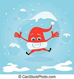 haut, excité, saut, rire, santa chapeau, noël, rouges, heureux