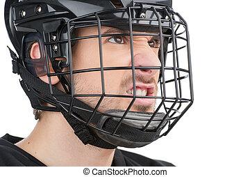 haut, fâché, isolé, figure, regarder, mask., noir, hockey, fin, blanc mâle, loin