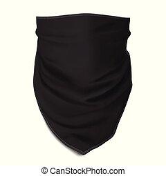 haut., face., bandana, noir, vector., railler, polir
