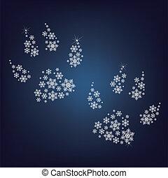 haut, fait, flocons neige, pattes, lot