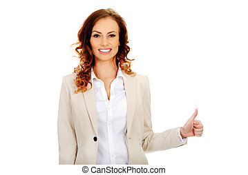 haut, femme affaires, gesture., pouces
