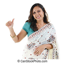 haut, femme, indien, pouce