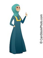 haut., femme, pouce, business, donner, musulman, jeune