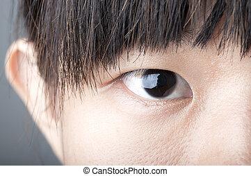 haut, femme, zoom, fin, oeil, asiatique