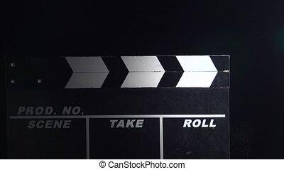 haut., film, arrière-plan noir, action, fin, bardeau