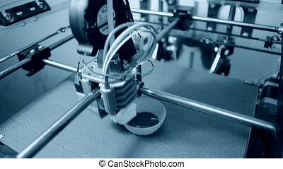 haut., fin, imprimante, fonctionnement, 3d