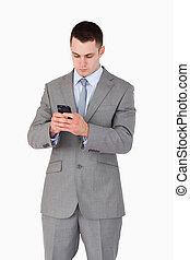 haut fin, texting, homme affaires