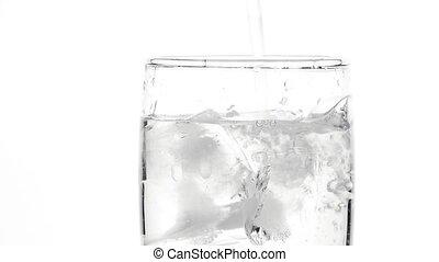 haut fin, verre, glace, versant eau, encore