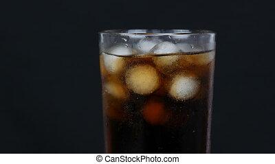haut, fond, glace, froid, transparent, vue., verre, tourner, fin, long, kola, bulles, noir