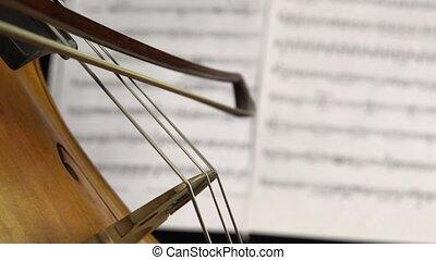 haut., fond, instruments à cordes, doigts, côté, notes., violoncelle, feuilles, fin, jouer, vue