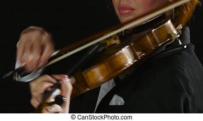 haut., fumée, strings., violiniste, arcs, arrière-plan noir, clos, violon, girl
