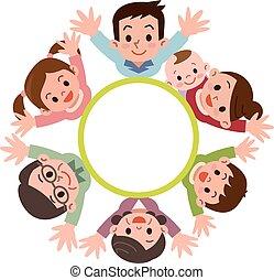 haut, générations, membres, famille, trois, regard