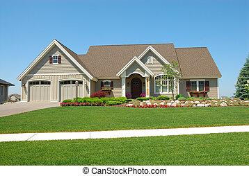 haut gamme, américain, maison, résidentiel