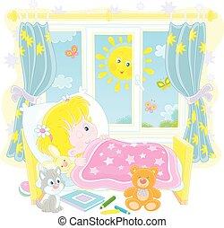 haut, girl, ensoleillé, réveiller, peu, clair, matin