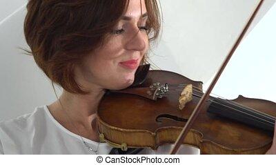 haut., girl, jouer, doigté, violin., fond, fin, blanc, instruments à cordes