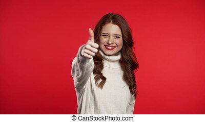 haut, girl, signe, sur, positif, appareil-photo., jeune,...