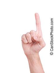 haut., gros plan, indiquer haut, isolé, main, doigt, mains, blanc mâle