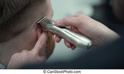 haut, hairclipper., mâle, marques, prise vue., coupe, ...