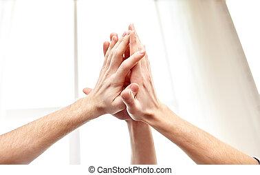 haut haut, cinq, mains, fin, geste, confection