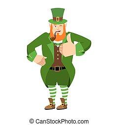 haut., heureux, irlandais, irlande, 's, nain, winks., elfe, day., barbe, pouces, emotions., lutin, vacances, rouges, st.patrick