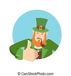 haut., heureux, irlandais, irlande, 's, nain, winks., st.patrick, elfe, day., pouces, emotions., lutin, vacances, rouges, barbe