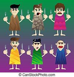 haut, homme, tenue, préhistorique, fork., couteau