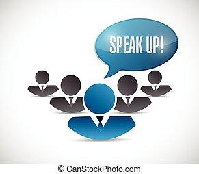 haut, illustration, conception, équipe, message, parler