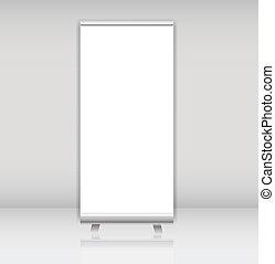 haut, illustration, exposer, vecteur, gabarit, vide, concepteurs, bannière, rouleau