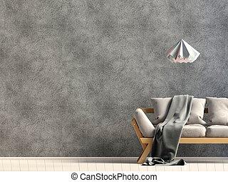 haut., illustration., mur, moderne, sofa., intérieur, railler, 3d