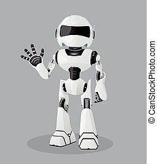 haut., illustration, une, robot., réaliste, vecteur, blanc, main