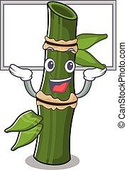 haut, image, mascotte, élevé, bambou, planche
