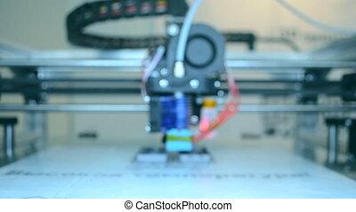 haut., imprimante, fonctionnement, arrière plan flou, fin, 3d