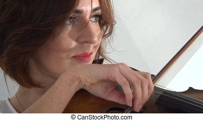 haut., instruments à cordes, doigté, fond, violon, fin, girl, jouer, blanc