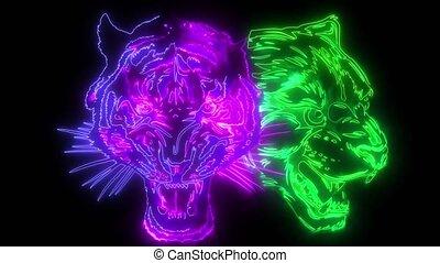 haut, jaguar, tigre, animation, numérique, éclairage, style...