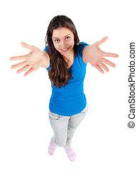 haut, jeune, mains, récupérations directes, girl, heureux