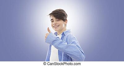 haut, jeune, signe, pouces, approbation, sourire, bretelles,...